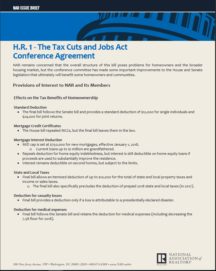 Nar Issue Brief Hr 1 The Tax Cuts And Jobs Act Conference
