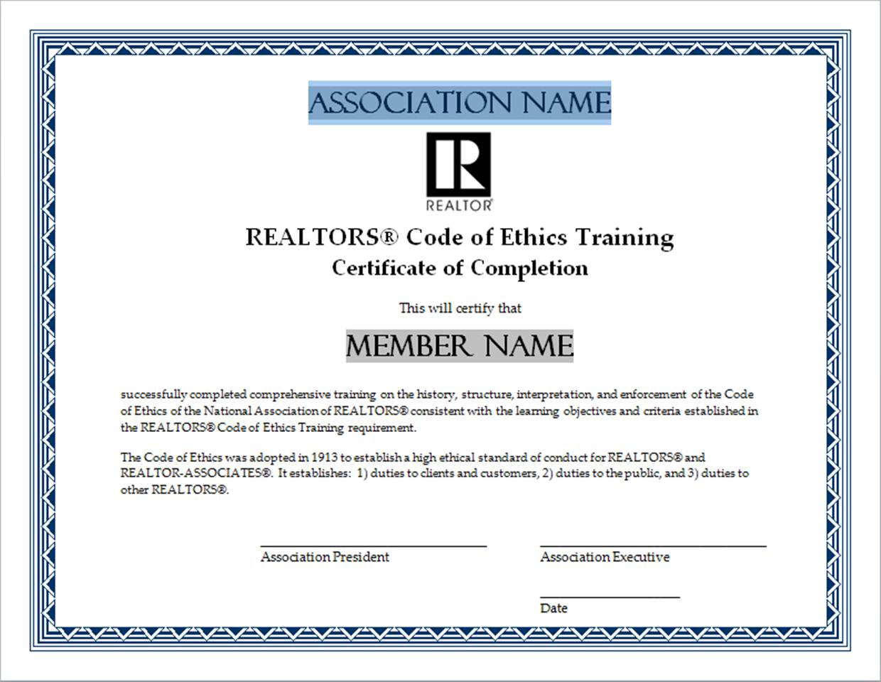 Code of ethics training certificates naraltor certificate 2 alramifo Gallery