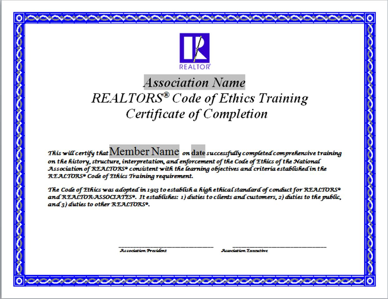 Code Of Ethics Training Certificates Naraltor