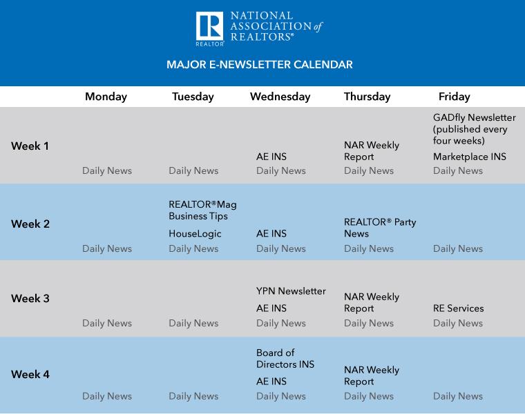 NAR E-Newsletter Calendar