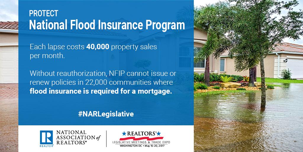 Protect National Flood Insurance Program. Each laps costs 40,000 property sales per month. #NARLegislative