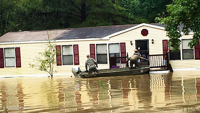 Resident rescued from August 2016 Louisiana flood.