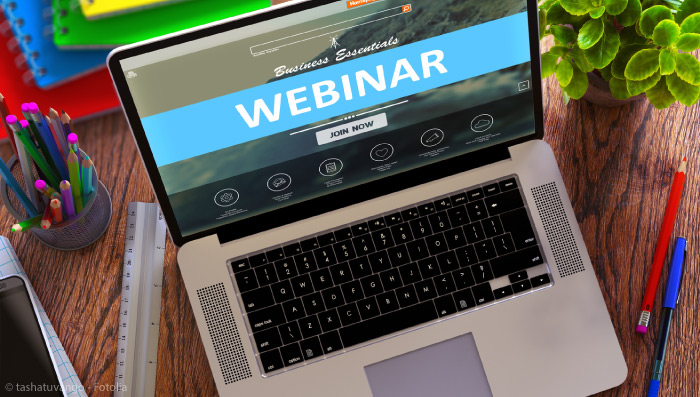 Laptop with on-screen webinar