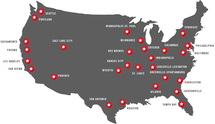 map of us cities in the global cities initiative