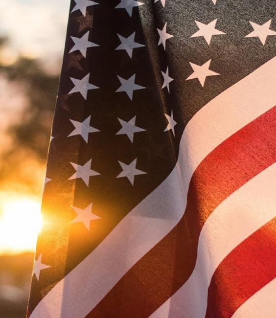U.S. flag at sunset