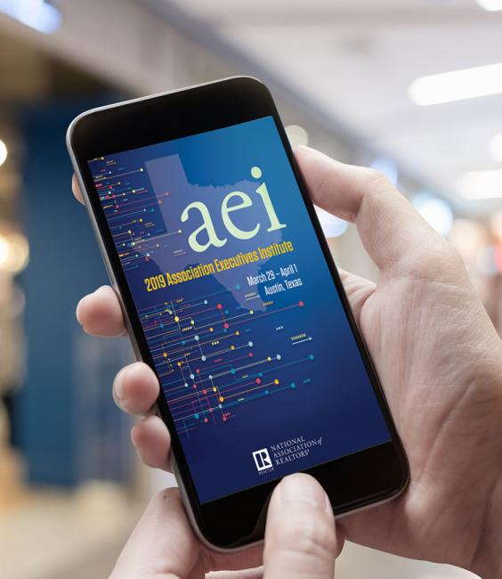 2019 AEI App on Smartphone held in hand