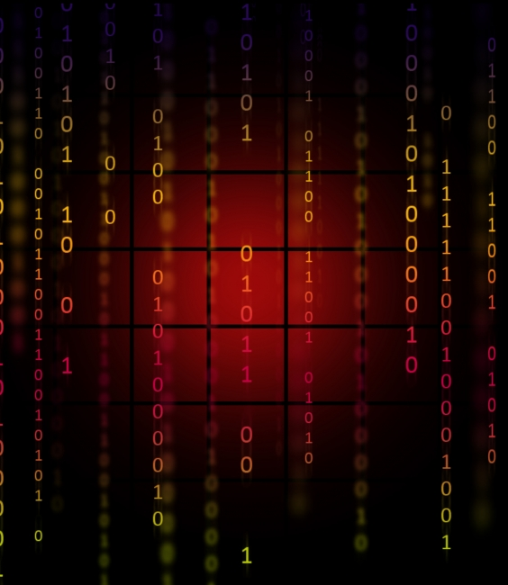 red binary code background matrix style