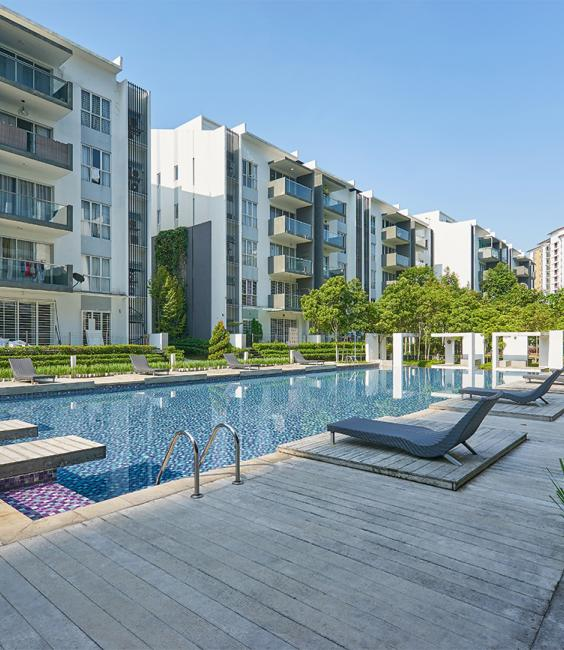 Condominiums and a swimming pool