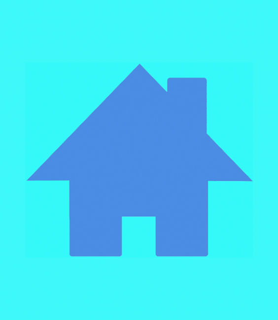 French blue house icon on aqua background