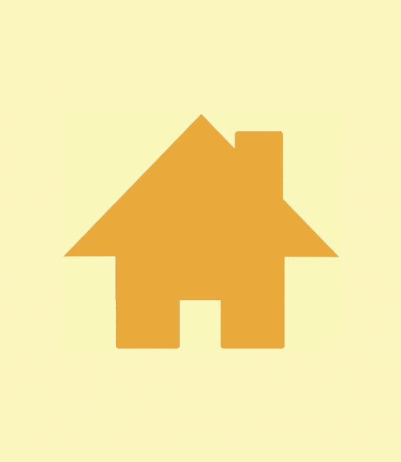 Goldenrod house icon on pale yellow background