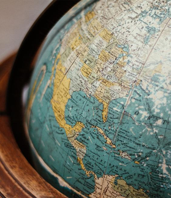 Globe in a wooden stand