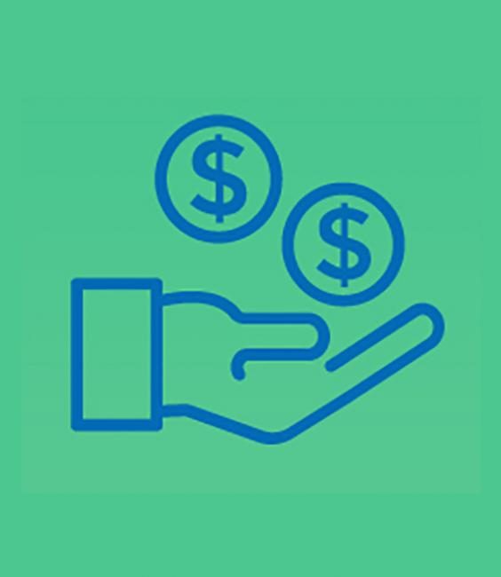 Hand with money icon