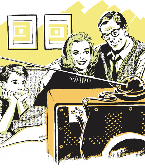 Illustration of a family watching TV