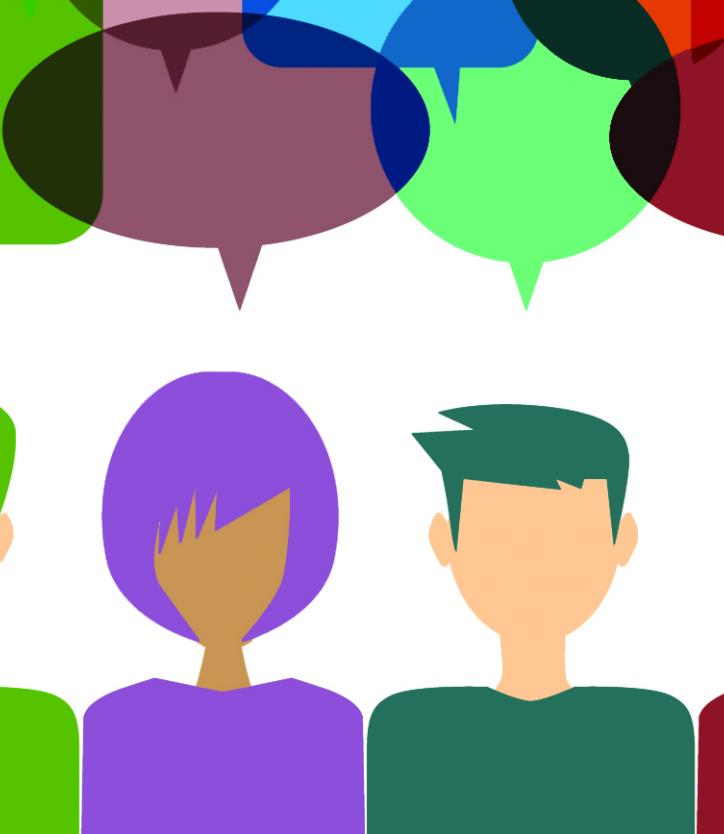 Illustration of people and speech bubbles