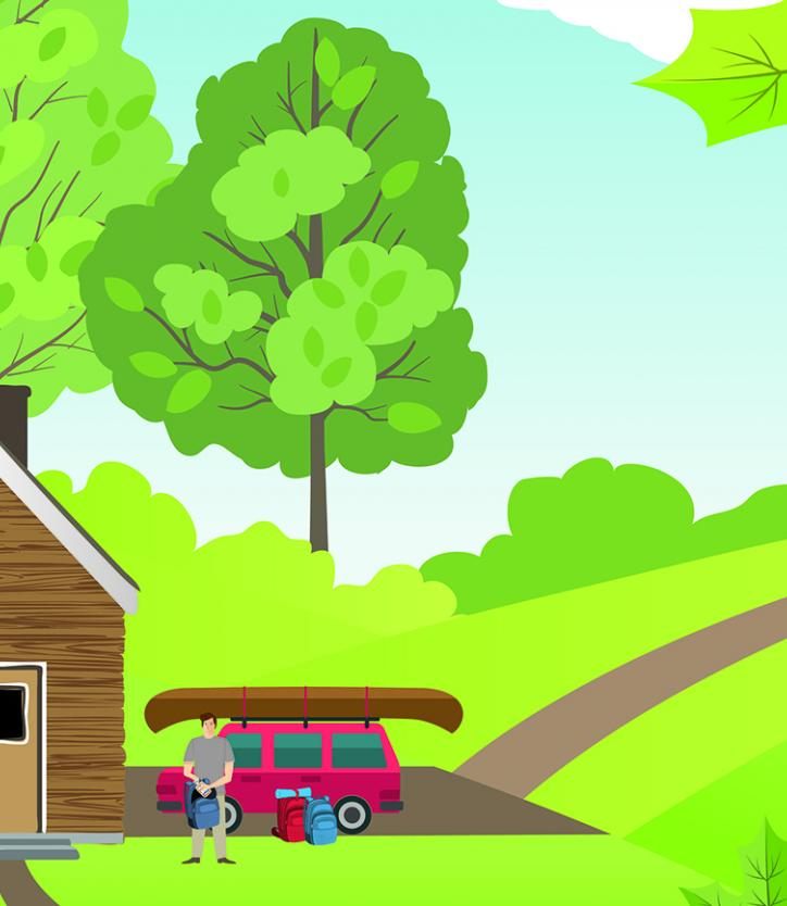 Illustration of a wood house in the country, with a car, canoe, and bicycles