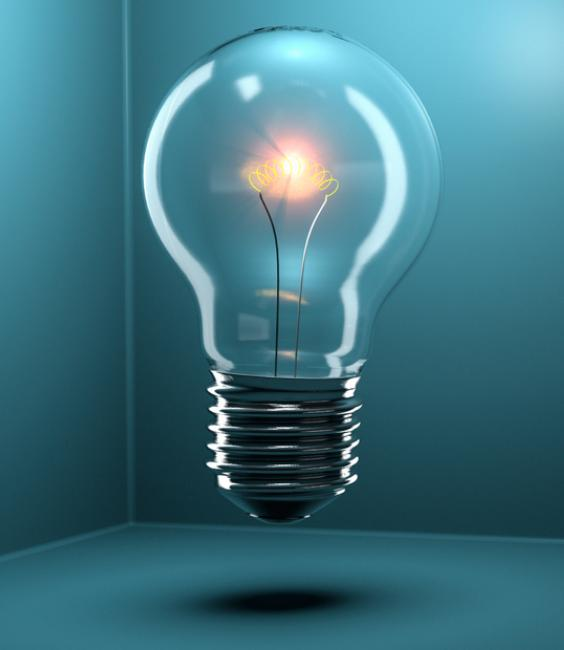 Innovation Summit - Light Bulb on Blue Background