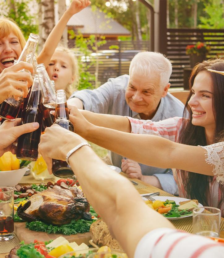 Multigenerational backyard meal