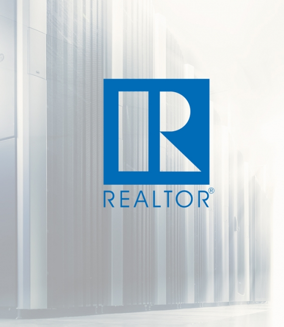 REALTOR® Logo over server stacks