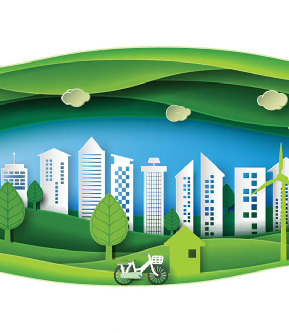 Illustration of a city skyline, a house, and energy-generating windmills