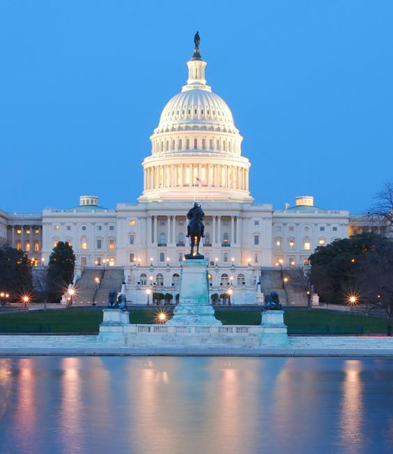 US Capitol at Dusk With Reflecting Pool