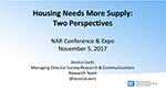 Cover image of Jessica Lautz's presentation slides from her November 2017 talk about the need for more housing supply