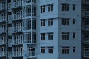 Blue apartment building