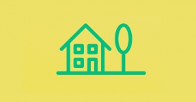Line drawing of house and tree on yellow background
