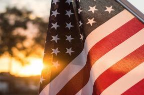 U.S. flag at sunset