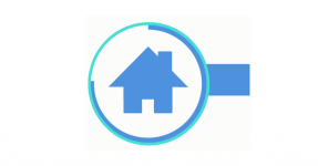 Blue house icon in a circle
