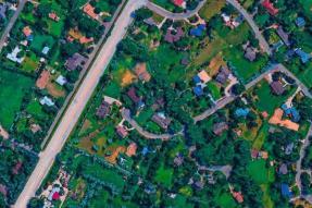 Aerial shot of suburban metro area