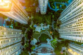 Aerial view of condominium courtyard