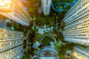 Aerial view of condominium courtyard