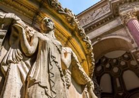 Close up of sculpture on the Palace of Fine Arts in San Francisco