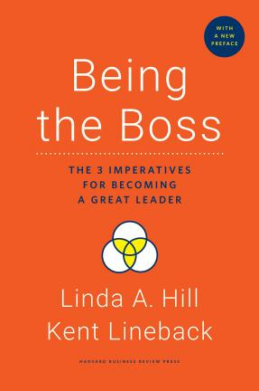 "Red book cover for ""Being the Boss"" by Linda A Hill and Kent Lineback"