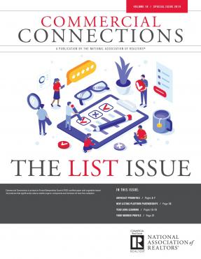 Cover of Commercial Connections, Summer 2019 publication showing a list graphic