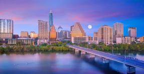 Downtown Austin Skyline with Moon