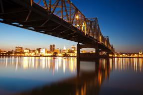 Bridge view of Peoria, IL, City view at dusk