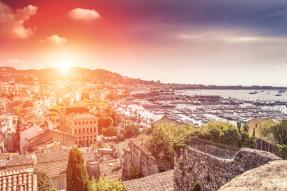 Panoramic view of Cannes, France at sunset