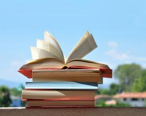 Pile of books with pages open by wind