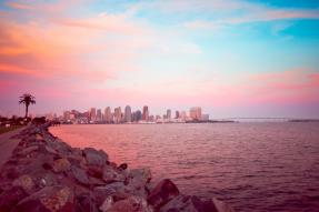 San Diego California skyline and bay at dusk
