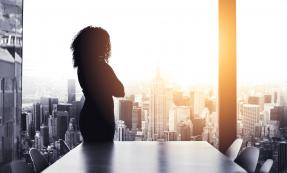 Silhouetted business woman looking at cityscape through window