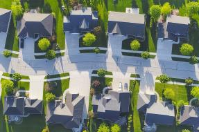 Aerial shot of a suburban neighborhood