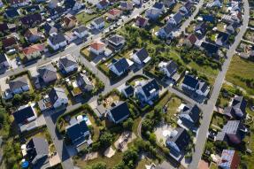 Aerial view of suburban neighborhood