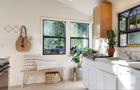 Bright kitchen staged for summer