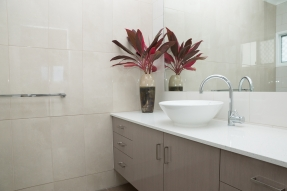 Bathroom counter with flowers