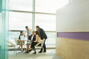 Business Meeting in Modern Office Building