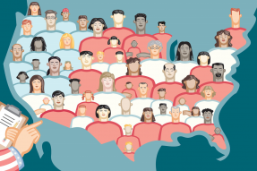 Vector illustration of the U.S. Census. A hand has a clipboard and is counting the many unique cultural faces of America.