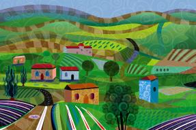 Colorful illustration of homes among rolling hills