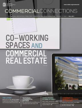 Cover of the 2011 Fall issue of Commercial Connections: Co-Working Spaces and Commercial Real Estate