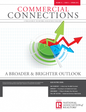 Cover of the 2015 Spring issue of Commercial Connections: A Broader and Brighter Outlook